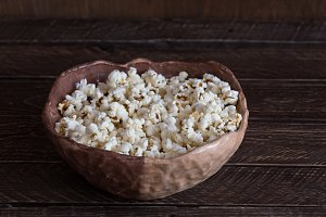 Popcorn in a clay bowl