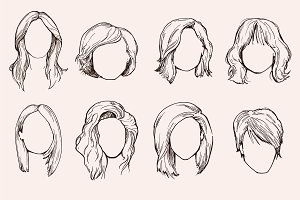 Set of Woman hairstyles.