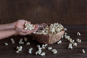 popcorn on brown background