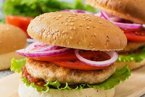 Sandwich with chicken burger