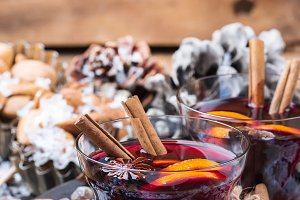Hot mulled wine in a glass for winter holidays
