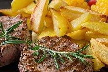 Juicy veal steak medium rare
