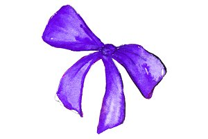 Watercolor violet bow isolated