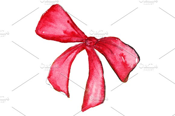 Watercolor red scarlet bow isolated