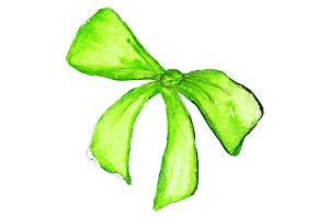 Watercolor neon green bow isolated