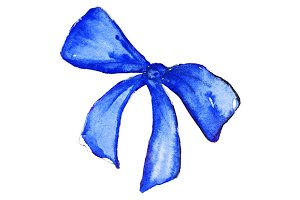 Watercolor blue bow isolated