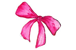 Watercolor pink scarlet bow isolated