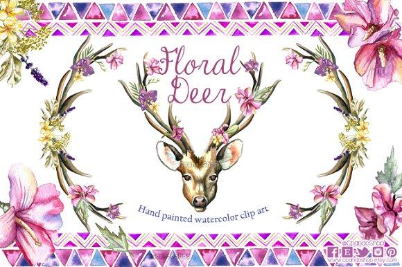Deer floral horns watercolor
