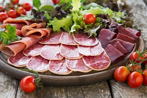 Antipasto with ham, salami, bresaola