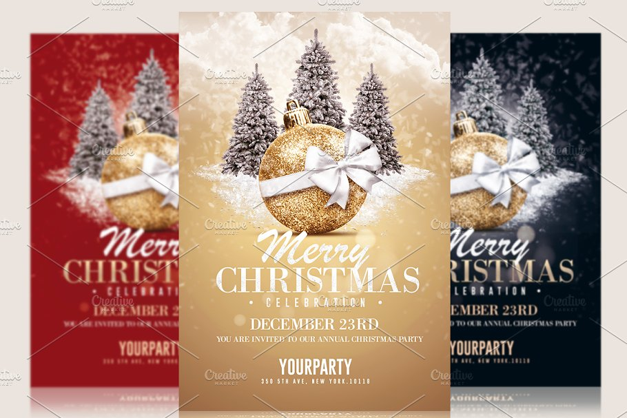 d50ddaf2a Christmas Invitation - Psd Templates ~ Flyer Templates ~ Creative Market