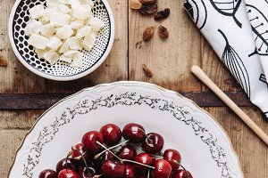 Cherries on vintage table