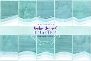 Watercolor Geometric Ombre Paper