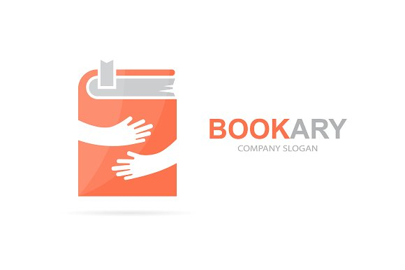 Book And Hands Logo Combination