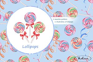 Lollipops. Watercolor