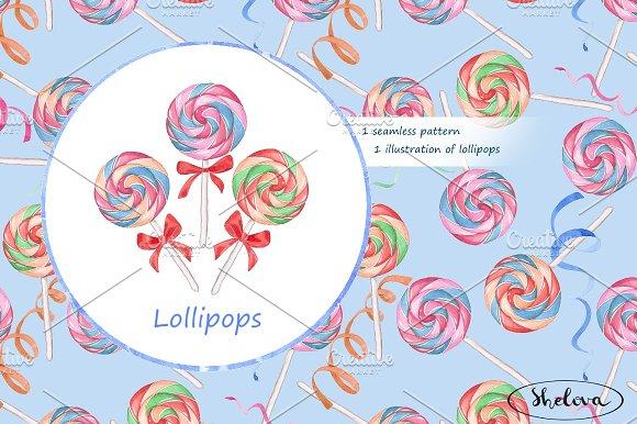Lollipops. Watercolor