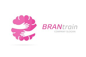 Brain and hands logo combination