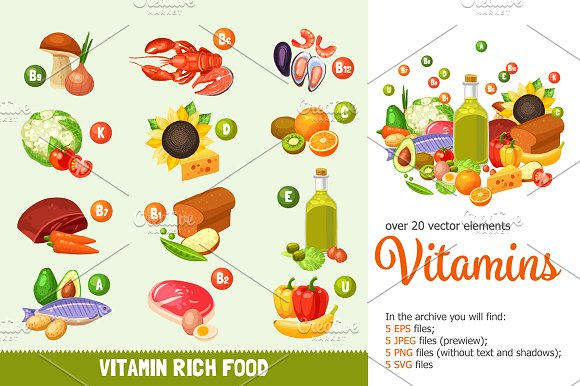 Vitamins and Healthy Food Set