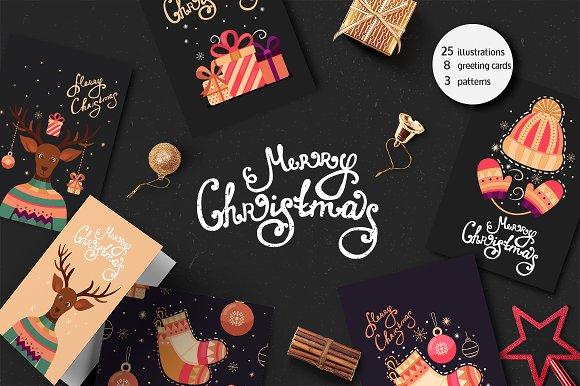 Christmas card, illustration,pattern in Illustrations