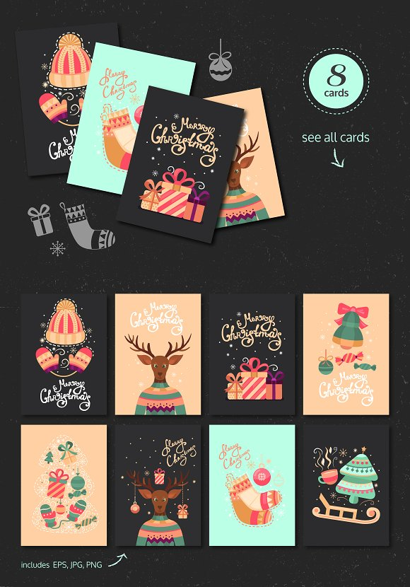Christmas card, illustration,pattern in Illustrations - product preview 1