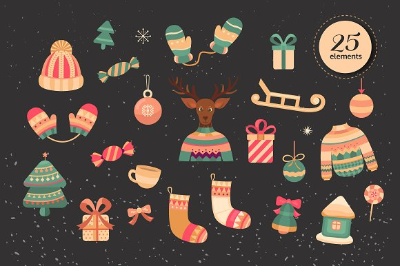 Christmas card, illustration,pattern in Illustrations - product preview 2