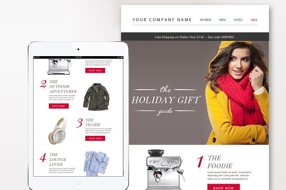 ECommerce Email Template PSD Email Templates Creative Market - Eblast template