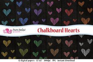 Chalkboard Hearts digital paper