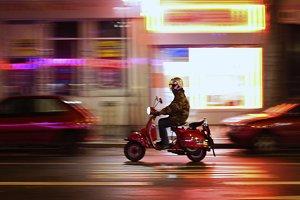 Motorcyclist on night street