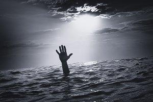 Man sink in water