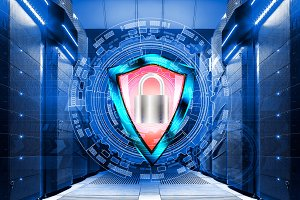 shield with padlock on background of abstract backgrounds in data center among the rows  supercomputers