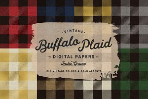 Vintage Buffalo Plaid Digital Papers