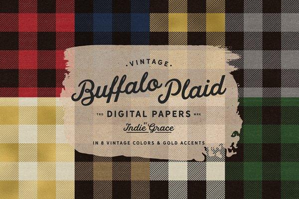Vintage Buffalo Plaid Digital Paper…