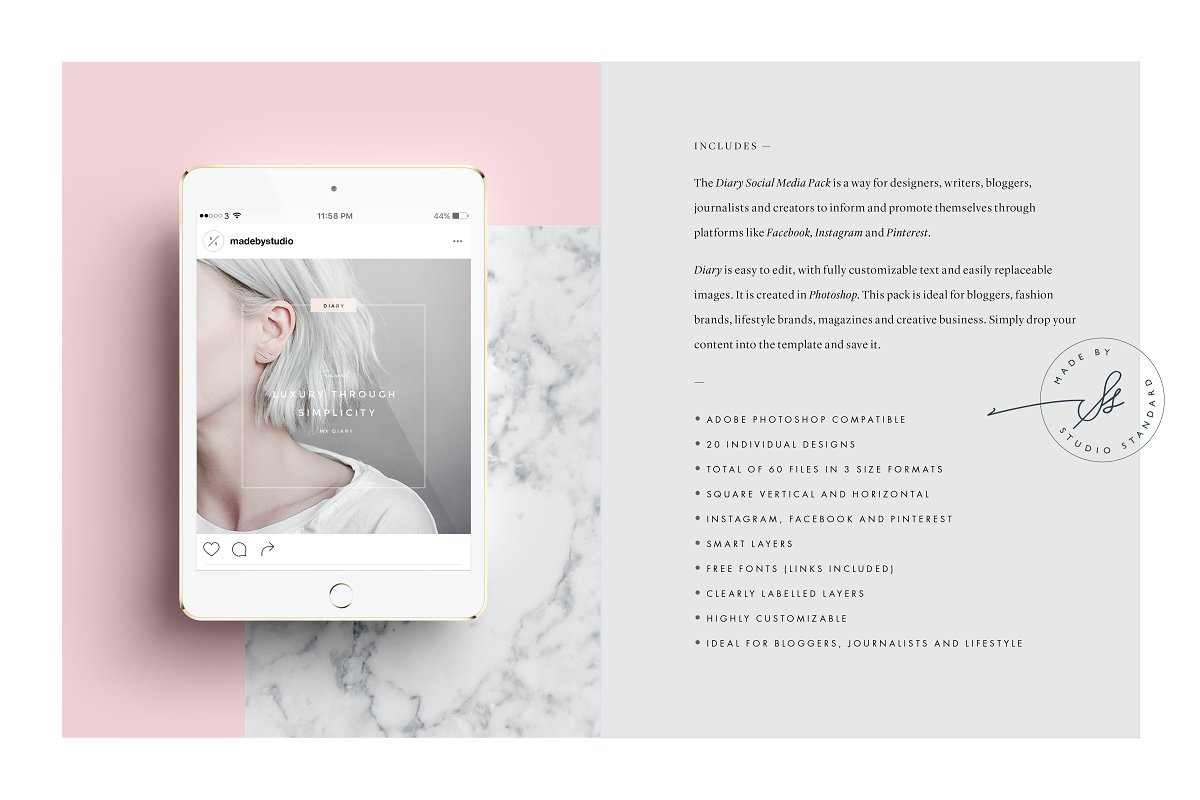 5fa059f9942c8 Diary Social Media Pack ~ Instagram Templates ~ Creative Market