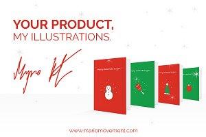 Simple flat Christmas card design