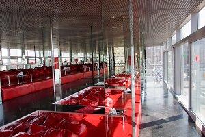 nightclub with red cushion