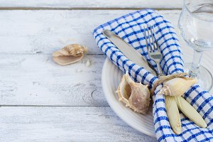 Summer marine style table setting, copy space