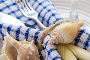 Summer marine style table setting, closeup