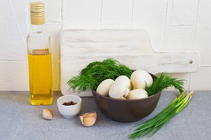 Champignon mushrooms and herbs