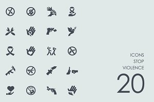 Stop violence icons