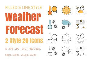 Weather Forecast 20 icons two style