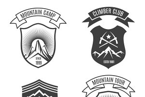 Mountains retro badges set