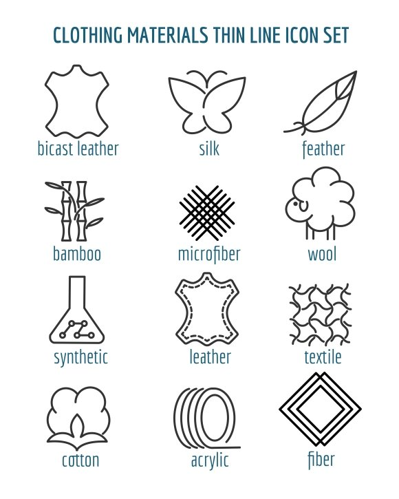 Clothing Materials Thin Line Icons