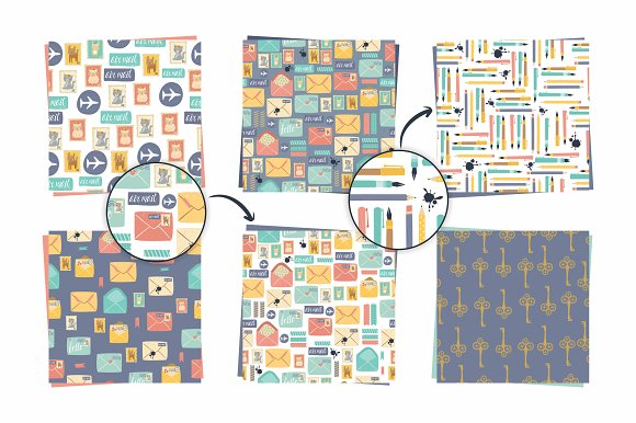 Postal set (eps, ai, png, jpg) in Illustrations - product preview 1