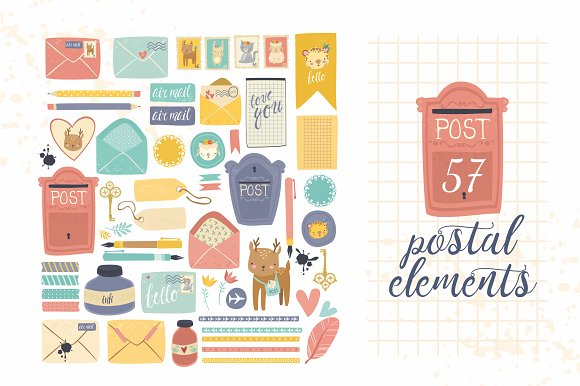 Postal set (eps, ai, png, jpg) in Illustrations - product preview 2