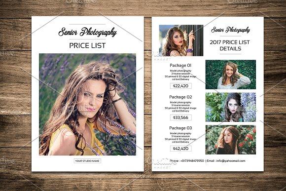Senior Photography Price List V457
