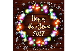 Happy New Year greeting card light