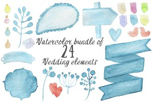 Watercolor wedding elements bundle