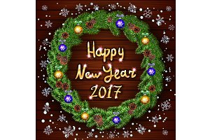 wreath Happy New Year greeting card