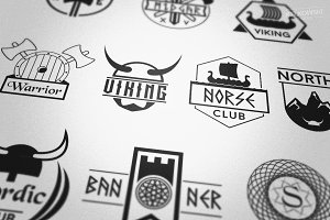 Norse Viking Badges Logos