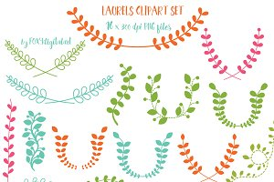 Laurels Wreath Clipart Set