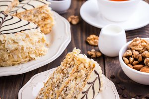 Cake loaded with nuts